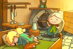 Grandma is sewing Link's uniform for when he turns thirteen while he and his little sister sleep. Too cute <3