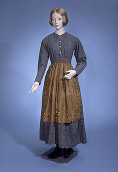 Work Dress, Catalogue number: Date: Maker: Unknown Description: Work dress; white, brown, and two tones of blue check heavy cotton; Source by cindymedlar fashion dress 1800s Fashion, 19th Century Fashion, Victorian Fashion, Vintage Fashion, Women's Fashion, Historical Costume, Historical Clothing, Day Dresses, Dresses For Work
