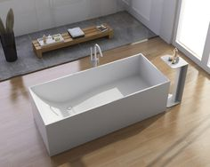 ADM White Stand Alone Solid Surface Stone Resin Bathtub, Matte contemporary-bathtubs