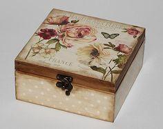 Fából készült tea doboz.  Tea tároló doboz.  Teafiltert mezőbe.  Teafiltert tároló.  Decoupage.  Karácsonyi ajándék.