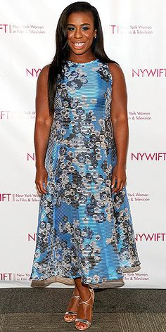 Last Night's Look: Love It or Leave It? | UZO ADUBA | in a digital floral-print blue dress and strappy silver heels at the 2015 New York Women In Film & Television Designing Women Awards Gala in N.Y.C.