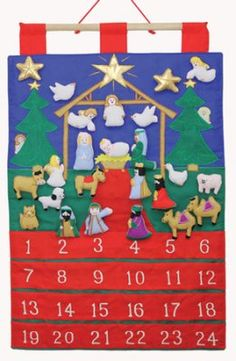 Tidings of Joy Fabric Advent Calendar w/Embroidered Figurines  -