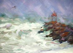 Snow Storm at Rudees Inlet     26 x 18       by VickiNorrisArt