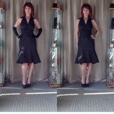LBD WITH A TWIST OF ELVIS LBD by Japanese American designer Tadashi Shoji. Lots of shirring at the bodice, trumpet hem with a high low design, shimmer black stretch fabric & a collar that Elvis would love!  Back zipper & enough stiffness to the fabric to hold the shape well despite the stretch. This dress has so much potential for styling! I styled it with black sequin pumps, long black satiny gloves & a rhinestone bracelet!  Beautiful fit with some room for movement!! Tadashi knows a…