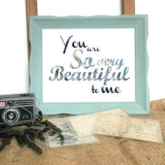 Hello there, and a very warm and poetic welcome to you!  You are peeking at the YOU ARE SO VERY BEAUTIFUL TO ME original printable wall art!  This elegant landscape digital printable features a subtle black watercolor and blue gold marbled font, and the simple text You Are So Very Beautiful To Me. Perfect for framing, this inspirational printable is bound to add a touch of inspiration and style to any indoor space! Perfect as nursery wall decor for a little girl, or even in an older childs…