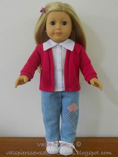 Free tutorial - How to make your t-shirt pattern into a cardigan for American girl doll clothes.