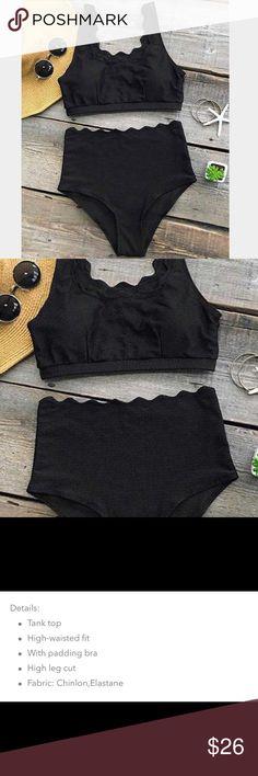 NEW Black High Waisted Tank Bikini Set Size 8/10 Brand new in packaging with tags • High waisted tank bikini set • Color is black • Size Medium (8/10) • Top is padded Swim Bikinis