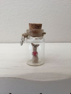 Chihuahua in a tiny glass bottle, Unique Handmade Ornament unusual OOAK gift, give a different present by MomapawsHomecraft on Etsy