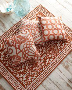 Orange and Ivory Pillows & Rug - Neiman Marcus