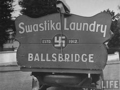 """Defiant Irish laundry company added the text """"Estd. to their logo in 1939 to distinguish themselves from another entity operating in Europe at the time. Old Pictures, Old Photos, Vintage Photos, Laundry Company, Laundry Business, Grafton Street, Images Of Ireland, Truck Signs, Photo Engraving"""