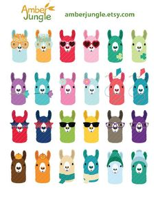 Llama Clipart- Llamas Planner Clip Art- Llama of the Month Head Erin Condren… Alpacas, Printable Stickers, Planner Stickers, Lama Animal, Llama Images, Llama Clipart, Llama Face, Llama Decor, Llama Arts