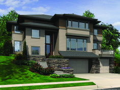 House Plan For Hillside Views - 69453AM | Contemporary, Northwest, Prairie, Photo Gallery, 2nd Floor Master Suite, CAD Available, Den-Office-Library-Study, Drive Under Garage, Elevator, PDF, Sloping Lot | Architectural Designs