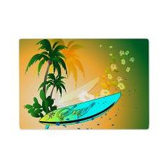 Surfboard with palm trees and flowers