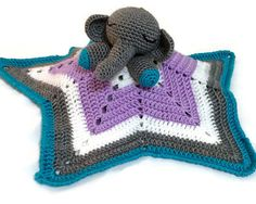 Baby Elephant Star Comfort/Snuggle/Lovey Blanket  by MemoriesWoven