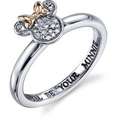 Disney Two Tone Sterling Silver 1/20 ctw Diamond Ill be Your Minnie... ($110) ❤ liked on Polyvore featuring jewelry, rings, sterling silver rings, two tone rings, 2 tone ring, diamond jewelry and diamond rings