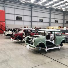 Visiting the David Brown factory at Silverstone today. Plenty of 'remastered' Minis in production - lots of orders from Japan, apparently. Mini Cooper Classic, Mini Cooper S, Classic Mini, Classic Cars, Mini Clubman, Mini Countryman, Vintage Cars, Antique Cars, Geneva Motor Show