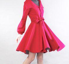 Red woolen coat by xiaolizi on Etsy, $89.00