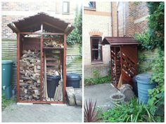 Log store made from six pallets #Garden, #PalletStorage, #RecycledPallet, #Wood