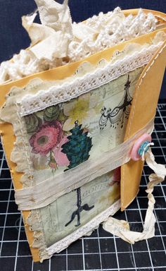 Handmade Junk Journal with Envelope Cover, with Stitching and Lace Details