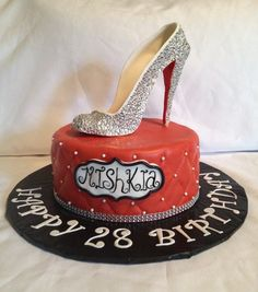 Red Carpet Event - Fashion shoe (Christian Louboutin) Birthday cake - by Caroline Diaz @ CakesDecor.com - cake decorating website