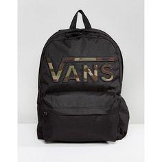 Vans Realm Flying V Camo Backpack In Black (£35) ❤ liked on Polyvore 9f9e9203ef