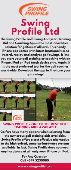 Progress your golf training with the innovations of Swing Profile Limited. Find outstanding golf training aid and technologies for making the most out of your golf training. Start your training with its handy mobile app today. For any inquiries, call at +649 5230080 or visit our website. Golf Swing Analyzer, Golf Training Aids, Mobile App, Innovation, Coaching, Profile, Website, Training, User Profile