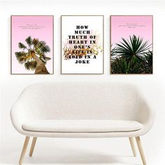 Tree Plant Nordic Canvas Painting Wall Art Home Decor Living Room Home Backdrop Print Coconut Quote Poster Modern Decor Painting - 13x18cm no frame / 3Pcs