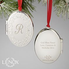 Personalized Photo Locket Christmas Ornaments - Lenox - Engraved Silver - 13680