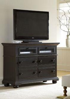 wonderful black entertainment center...made from a dresser,  minus that glass :)