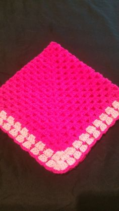 Bright pinkcrochet blanket bubble gum pink by GrannyblanketsShop