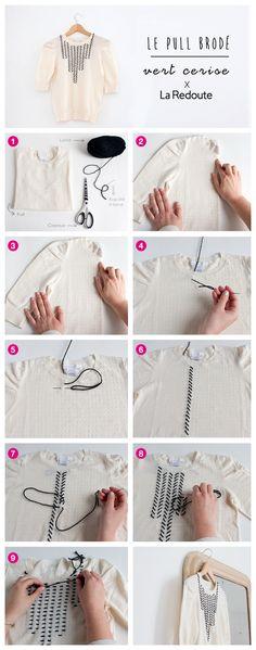 Apprenez à broder vous même votre pull avec ce DIY by Vert Cerise pour La Redoute