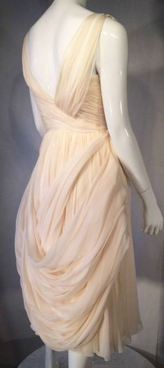 Jean Desses Haute Couture Cocktail Dress Attributed 1950s   From a collection of rare vintage evening dresses at https://www.1stdibs.com/fashion/clothing/evening-dresses/