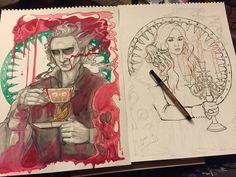 Loki Drawing, Horror Drawing, Crimson Peak, Spirited Art, Colorful Paintings, Art Portfolio, Dark Art, Illustration Art, Illustrations