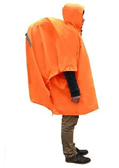 Elife Orange Nylon 3 in 1 Multifunction Rain Poncho Backpack Cover for Outdoor Activities * Check  sc 1 st  Pinterest & Not that I would wear a jacket that turns into a tent or a ...