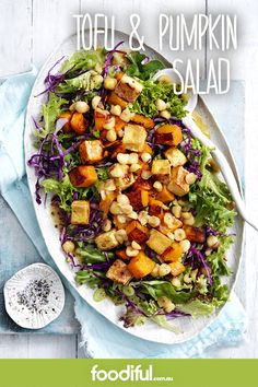 Butternut pumpkin, tofu, red cabbage, and spring onions with a hazelnut & honey dressing. A fabulous side or vegetarian main. This recipe serves 4 and takes 30 minutes.