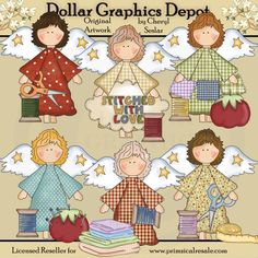 Prim Angels - Stitched with Love - Clip Art - $1.00 : Dollar Graphics Depot, Quality Graphics ~ Discount Prices