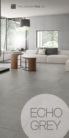 grey flooring Use the Echo range of tiles to create a modern living space Modern Floor Tiles, Grey Floor Tiles, Modern Flooring, Grey Flooring, Concrete Tiles Floor, Grey Kitchen Tiles, Open Plan Kitchen Living Room, Living Room Grey, Living Room Modern
