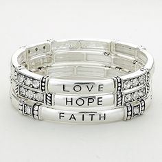 """Love Hope Faith"" Stretch Stack Bracelet Color : Silver, clear Theme : Love, Religious Size : 1"" H, Stretchable 3 Layers ""Love Hope Faith"" Stretch Stack Bracelet Jewelry Bracelets"