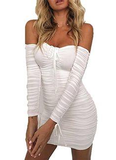 Aproms Black Ruched Pleated Short Dress 2019 Winter Club Women Sheath Bodycon Dresses Sexy Off Shoulder Mini Dress Vestidos - white,s Tie Up Dress, The Dress, Gown Dress, Dress Lace, Club Dresses, Short Dresses, Party Dresses, Mini Dresses, Dresses Dresses