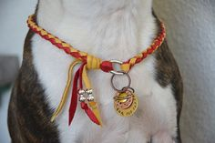 Custom Red Gold Leather Dog Collar Beaded Necklace ID Tag Charm Necklace Beaded Bohemian Southwestern Boho Western Dog Collar Necklace
