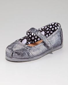 Need these for Bella!    TOMS Glitter Mary Janes, Light Pewter