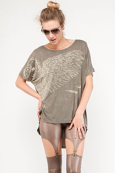 Vintage Wings Tee - Olive $30 -- This oversized high-low stonewashed tee shirt with owl's feather print design looks cute paired with leggings or skinny jeans.  ♥ Also available in Gray