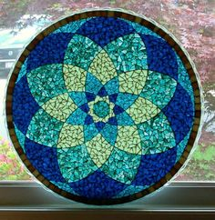 sold-blue-mandala-glass-mosaic-translucent-tabletop - The world's most private search engine Mosaic Birdbath, Mosaic Vase, Mosaic Tiles, Mosaics, Kitchen Mosaic, Mosaic Art Projects, Mosaic Crafts, Mosaic Designs, Mosaic Patterns