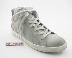 AQA A2107 Dames comfort Sneaker  kleur Grijs  materiaal Leer bestel je online via de webshop: velthuisschoenen.nl