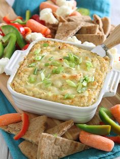 Roasted Garlic Cauliflower Cheddar Dip Recipe ~ A hot, cheesy, garlicky dip made with cauliflower so you can load up without the guilt!