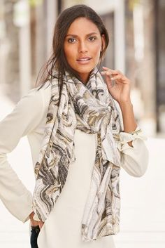 Buy Monochrome Marble Foil Print Scarf from the Next UK online shop