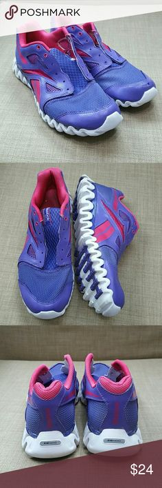 Womens Reebok Zignano Purple Pink Shoes Size 7 Used but not abuse (plenty of life left). They show signs of use and will not come with shoe strings (see pic 4). Add to a bundle to receive 20% off 3 or more items. Offers welcomed. Reebok Shoes Athletic Shoes