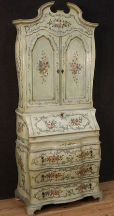 Lacquered and painted trumeau Venetian cabinet in wood sideboard desk bureau Wood Sideboard, Venetian, Furniture Design, Vintage Cabinet, Desk, Hand Painted, Antiques, Home Decor, Ebay