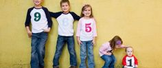 This is a cute idea for larger families or for all the cousins! Ages on shirts OR could do the order they were born in.