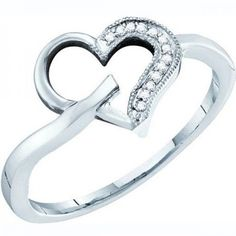 Thanks for Sharing!  0.04 Carat (ctw) 10K White Gold Round White Diamond Ladies Promise Heart Ring - Dazzling Rock #https://www.pinterest.com/dazzlingrock/